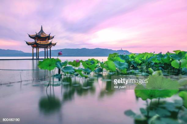 A pink sunset over the West Lake,Hangzhou,China