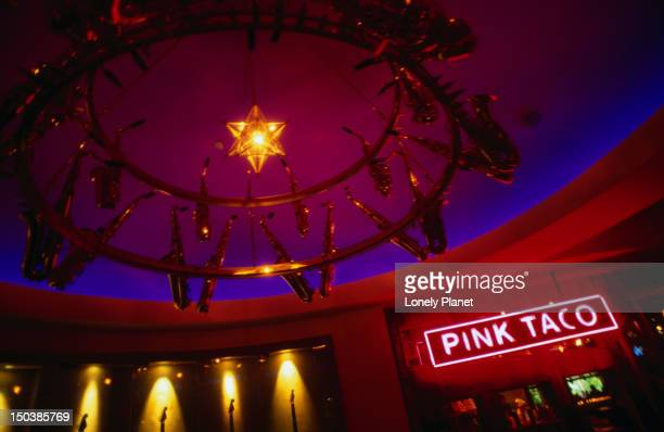 pink taco at the hard rock hotel and casino. - pink taco stock photos and pictures