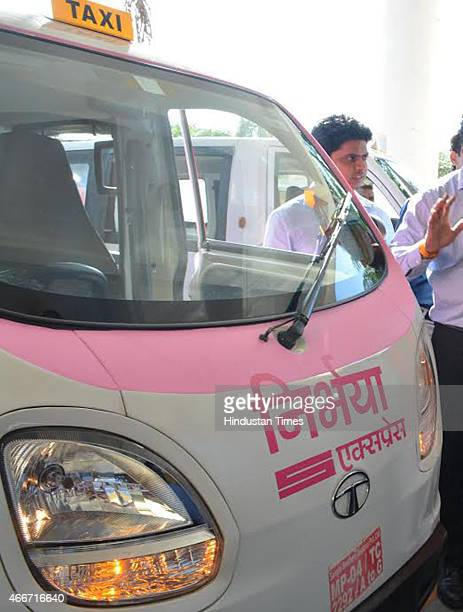 Pink taxis called Nirbhaya Taxi will be driven by women and available only to female passengers on March 18 2015 in Indore India MP State Urban...