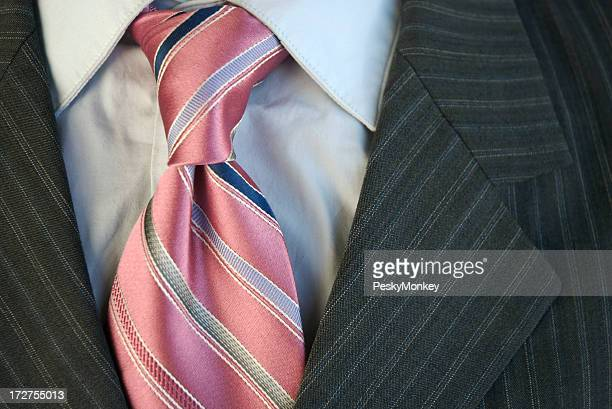 Pink Tie Windsor Knot Businessman Suit Close-Up