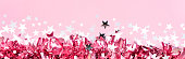 pink tinsel decor banner background christmas
