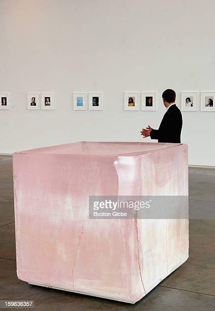 """""""Pink Tons,"""" a solid cast glass sculpture, by Roni Horn, on display at the Institute Of Contemporary Art in Boston, Tuesday, Feb. 16, 2010."""