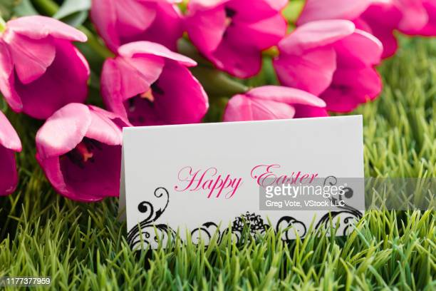 pink tulips and easter greetings on grass - happy easter text stock pictures, royalty-free photos & images