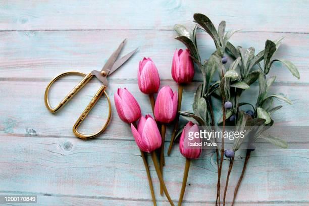 pink tulips and scissors on garden table - フラワーアレンジメント ストックフォトと画像