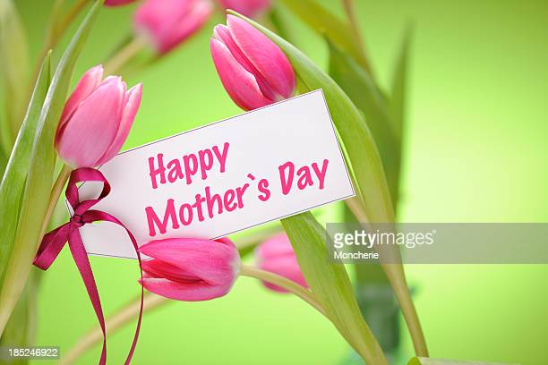 pink tulips on green with mothers day card - mothers day card stock pictures, royalty-free photos & images
