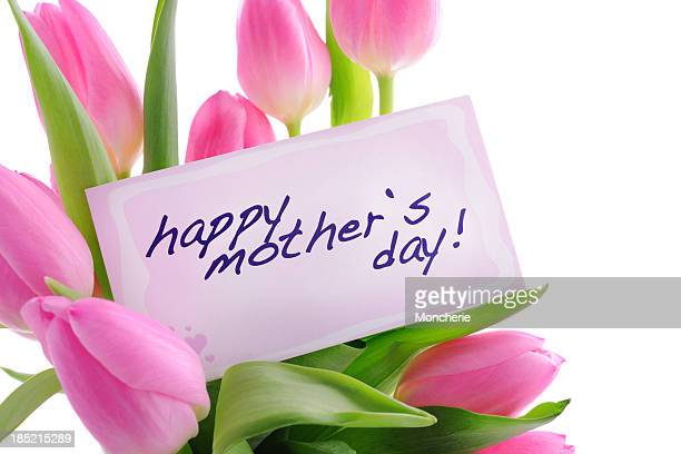 Pink tulips with mothers day card