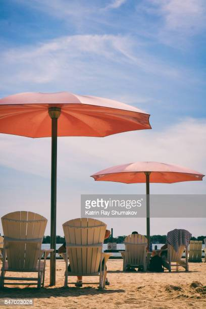 Pink Umbrellas of Sugar Beach