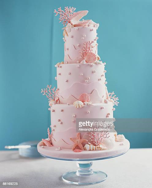 Pink Wedding Cake with Coral and Shells