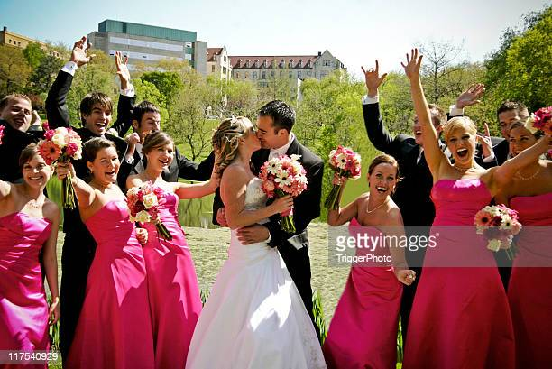 Pink Wedding Party Kissing Excitement Portraits