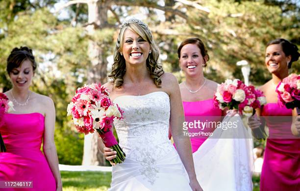 pink wedding portraits - wedding role stock photos and pictures