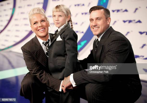 Pink, Willow Sage Hart and Carey Hart attend the 2017 MTV Video Music Awards at The Forum on August 27, 2017 in Inglewood, California.