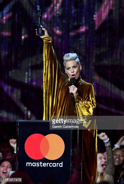 Pink with the Outstanding Contribution to Music Award during The BRIT Awards 2019 held at The O2 Arena on February 20 2019 in London England