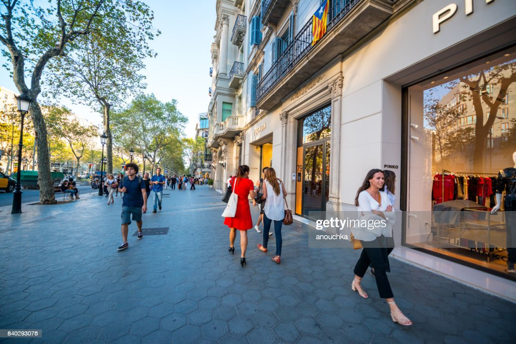 Pinko store at Passeig de Gracia, shopping street in Barcelona, Spain : Stock Photo