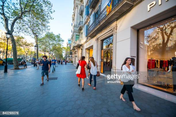 Pinko store at Passeig de Gracia, shopping street in Barcelona, Spain