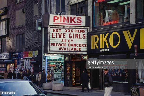 Pinks strip club on Broadway and 49th Street New York City USA November 1993