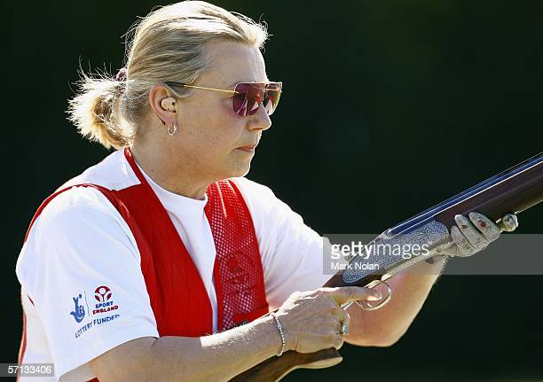 Pinky Le Grelle of England in action during the Womens Skeet Pairs clay target shooting at the Melbourne Gun Club during day five of the Melbourne...