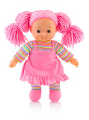 Pinky plushie doll isolated on white background with shadow reflection. Nice contemporary rag baby with pink hair. Modern joyfully rag baby. Pinky doll on white backdrop.
