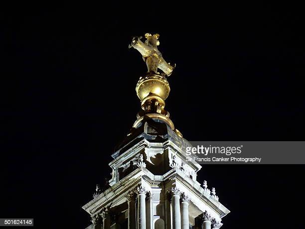 Pinnacle of St. Paul's Cathedral at night, London