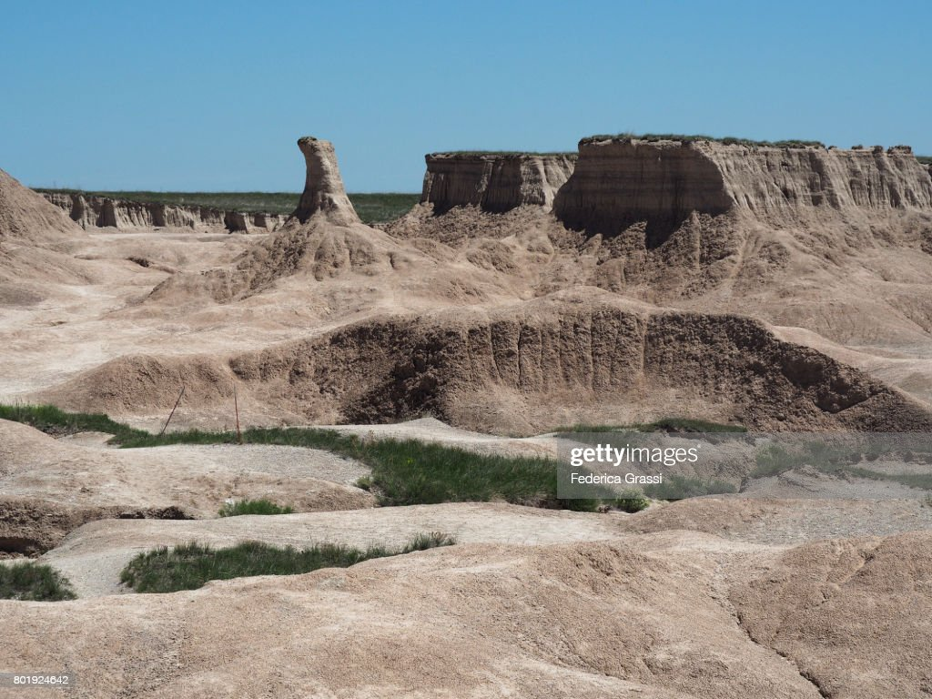 Pinnacle Rock Formation, Castle Trail, Badlands National Park : Stock Photo