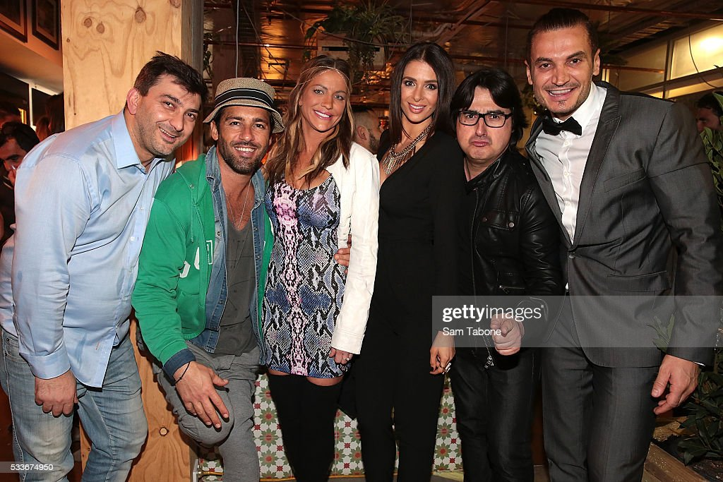 Pino, Alex Dimitriades, Brynne Edelsten, Emily Simms, Nick Giannopoulos and Alessio attend the Eat'aliano by Pino Italian Feast launch on May 23, 2016 in Melbourne, Australia.