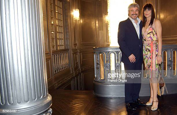 Pino Insegno and Roberta Lanfranchi attend the party marking Palazzo Fendi opening to the public, at the new Italian Store on May 19, 2005 in Rome,...