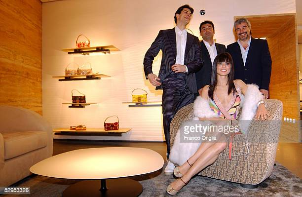 Pino Insegno, Max Giusti, Roberto Bolle and Roberta Lanfranchi attend the party marking Palazzo Fendi opening to the public, at the new Italian Store...