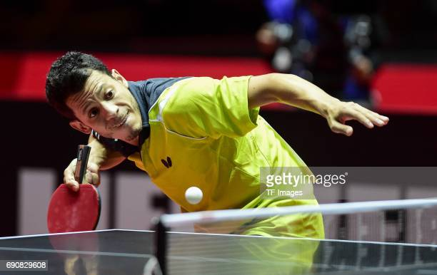 """Pino jonathan of Venezuela """"n in action during the Table Tennis World Championship at Messe Duesseldorf on May 29, 2017 in Dusseldorf, Germany."""