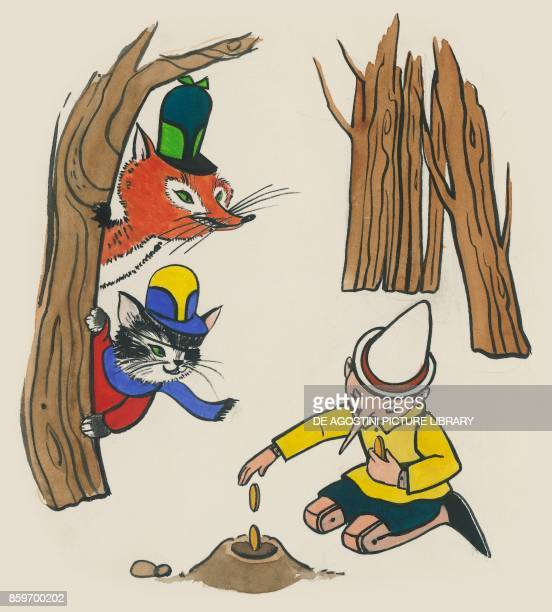 Pinocchio burying gold coins while Cat and Fox spy on him illustration for the children's novel The Adventures of Pinocchio by Carlo Collodi drawing