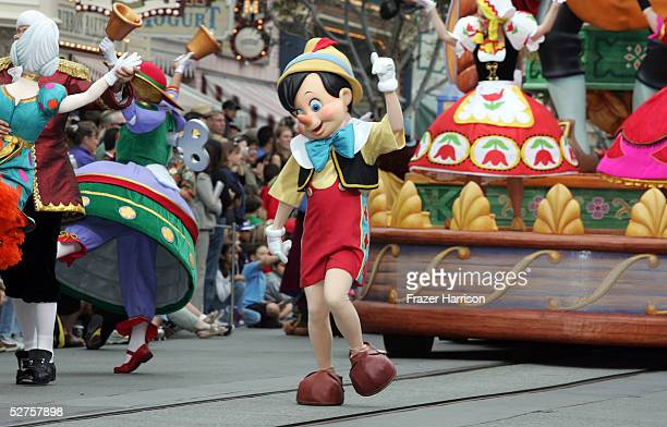 Pinocchio takes part in the Walt Disney's Parade of Dreams during the Disneyland 50th Anniversary Celebration at Disneyland Park on May 4 2005 in...