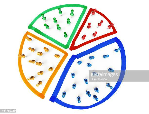 pins creating a pie chart - pie chart stock pictures, royalty-free photos & images