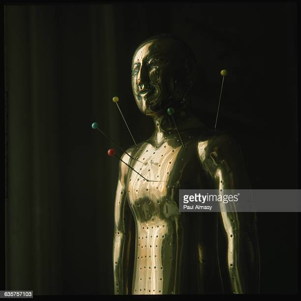 Pins stick in a bronze model to show the location of acupuncture points on hte human body