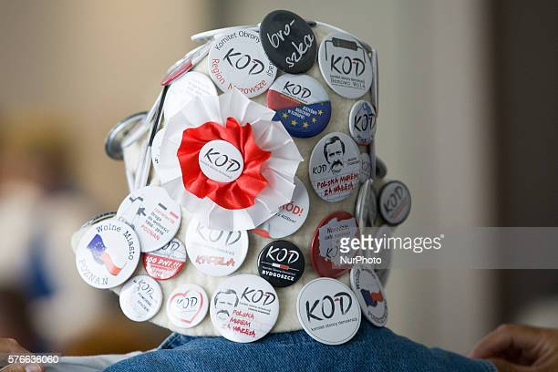 Pins supporting of Mateusz Kijowski activist and founder of the committee for the defence of democracy speaks in Bydgoszcz Poland on 16 July 2016...
