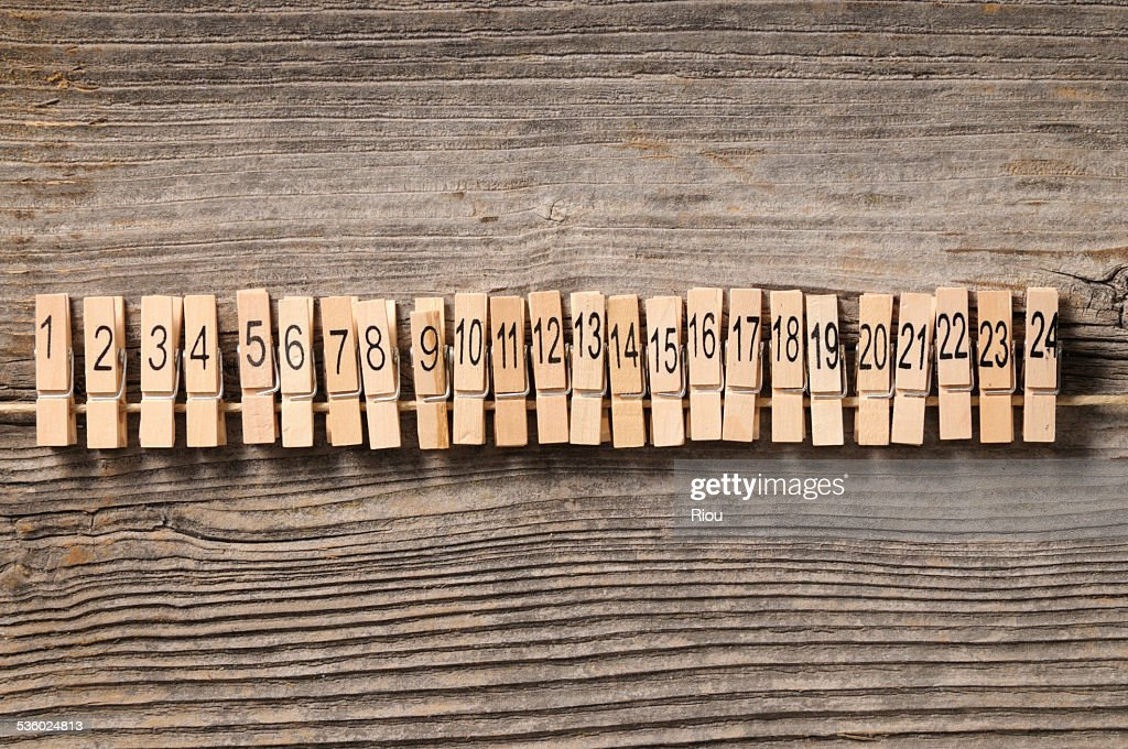 Pins with numbers before Christmas : Stock Photo