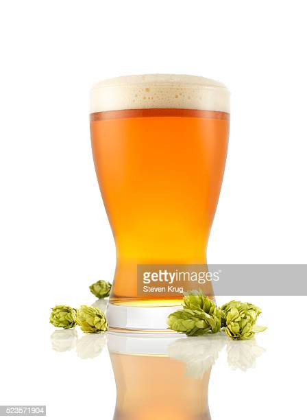 Pint glass of beer with hop buds