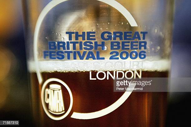 Pint of beer displays the name of The Great British Beer Festival on August 1, 2006 in London. The Great British Beer Festival runs from August 1-5,...