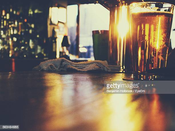 Pint Of Beer On Bar Counter