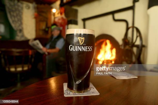 A pint of Guinness is photographed at the Gap of the North pub in the border village of Jonesborough in south Armagh northern Ireland on October 19...
