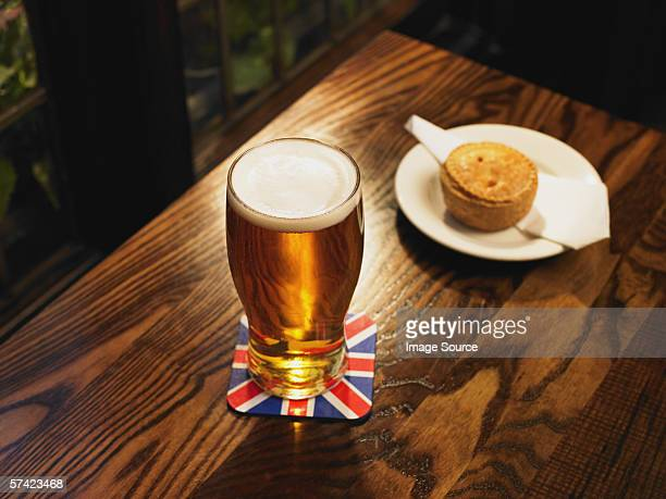 Pint of lager and a pie