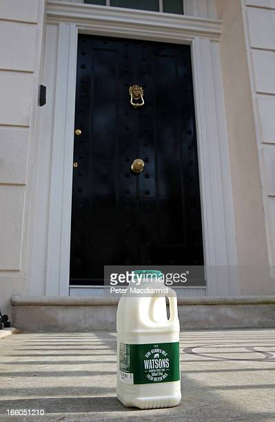 A pint of milk is left outside the residence of Baroness Thatcher in Chester Square in reference to her time as Education Secretary when she imposed...