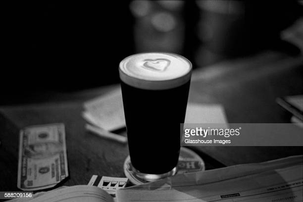Pint of Stout Beer with Heart