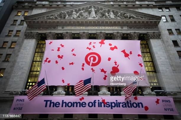 Pinterest Inc signage is displayed outside of the New York Stock Exchange during the company's initial public offering in New York US on Thursday...