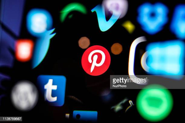 A Pinterest logo is seen on a computer screen in this photo illustration in Warsaw Poland on March 5 2019