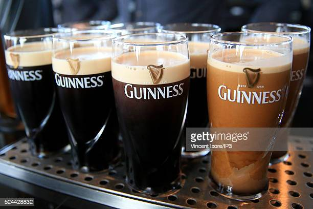 Pintes of Guinness just been served pictured at the Storehouse rooftop bar Gravity Bar in St James Gate Brewery Home of Guinness Illustration of...
