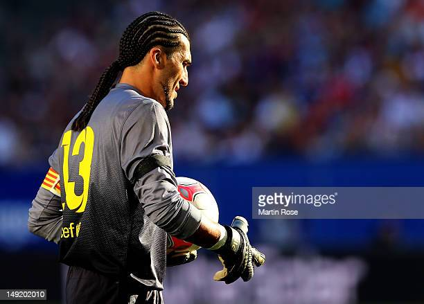 Pinto goalkeeper of Barcelona looks on during the friendly match between Hamburger SV and FC barcelona at Imtech Arena on July 24 2012 in Hamburg...