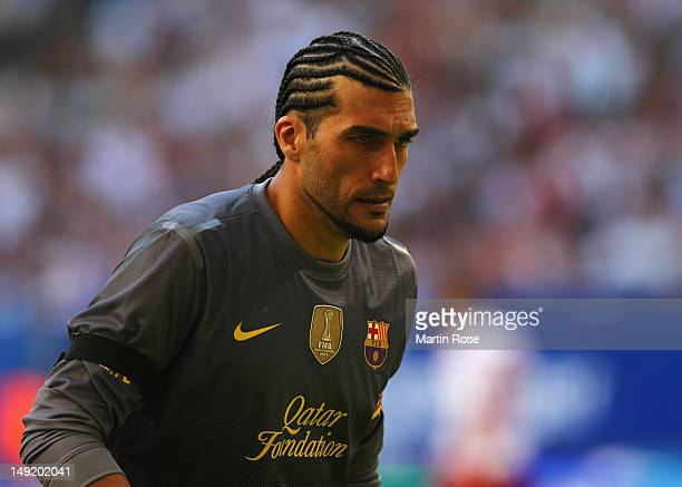 Pinto, goalkeeper of Barcelona looks on during the friendly match between Hamburger SV and FC barcelona at Imtech Arena on July 24, 2012 in Hamburg,...