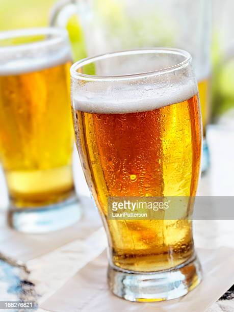 Pints of Beer on an Outdoor Patio