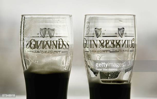 Pints of Guinness beer are left in the 'Source Bar' at the Guinness brewery on April 16 2006 in Dublin Ireland