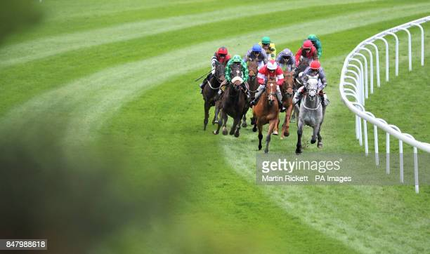 Pintura ridden by Jamie Spencer rounds the last corner on their way to winning The Fat Gary Sports Earl Grosvenor Handicap Stakes during the Boodles...