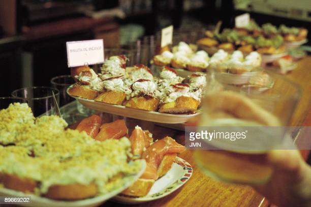 Pintxos San Sebastian `In the Old Town of the city we can eat in the ``pintxos bars`` Pintxos are small portion of food`