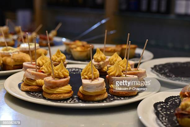 Pintxos, typical Basque tapas, Bilbao, Spain